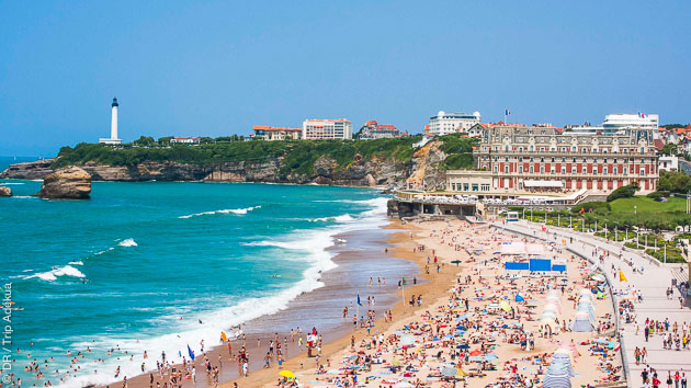le spot de la grende plage à Biarritz
